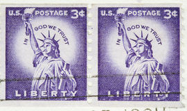 Vintage 1954 US Postage Stamp Liberty Coil Royalty Free Stock Photos