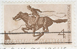 Vintage 1960 canceled US stamp Pony Express Royalty Free Stock Images
