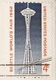 Vintage 1962 Canceled US Stamp Space Needle. This is a Vintage 1962 Canceled US Stamp Space Needle Royalty Free Stock Photo