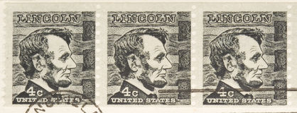 Vintage 1966 Stamp Lincoln Series Stock Photography