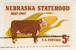 Vintage 1967  Stamp Nebraska Statehood Stock Photo