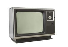 Vintage 1970's Television Isolated on White Royalty Free Stock Image