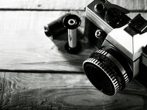 Vintage 35 mm film photo camera Royalty Free Stock Images
