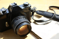 Vintage 35 mm film photo camera Stock Photo