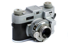 Vintage  35 mm metal chrome photo camera Royalty Free Stock Photography