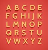 Vintage 3d alphabet. Colorful big letters set on background vector illustration