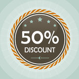 Vintage 50 percent discount label. Icon stock illustration