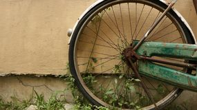 Vintage Old Wheel in Garden stock photography