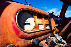 Vintage abandoned car's dashboard Royalty Free Stock Photo