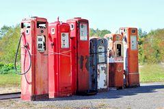 Vintage Abandoned Gas Tanks at Stations Stock Photo