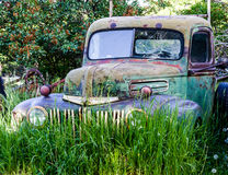 Vintage Abandoned Truck in Field Royalty Free Stock Photo