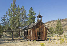 Vintage Abandoned Wooden Church in Desert Royalty Free Stock Photos