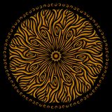 Golden pattern with symbol of the sun. Vintage abstract beautiful round ethnic golden pattern on black background Stock Images