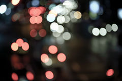 Vintage abstract blur bokeh of Evening traffic jam on road in ci. Ty , vintage effect Stock Photography