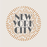 Vintage abstract label with sunburst and title New York City. Stock Photo