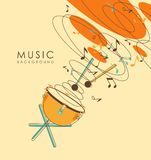 Vintage abstract musical background. Background with percussion musical instruments drum timpani in vintage sketch style Stock Images