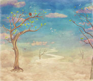 Vintage abstract nature sky with bridge ,trees and clouds background Stock Images
