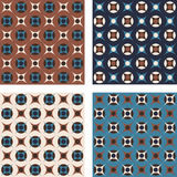 Vintage abstract seamless patterns, set of four. Retro 70s abstract geometric patterns. Vector seamless background. Teal, brown and ivory colors. Circles and royalty free illustration