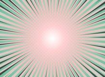 Vintage abstracto del fondo de la explosión del sol del diseño de semitono del modelo Colores coralinos verdes y vivos con punto  stock de ilustración
