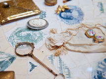 Vintage accessories. Background with different old retro tools Royalty Free Stock Photography