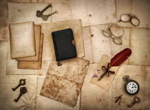 Vintage accessories, bible book, old letters Stock Photo