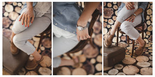 Vintage accessories girl collage wood background Royalty Free Stock Photography