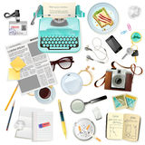 Vintage Accessories For Journalist Writer Typewriter Royalty Free Stock Photos