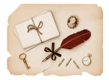 Vintage accessories, old letters and antique paper Royalty Free Stock Photos