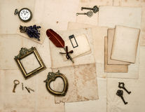 Vintage accessories, old letters, photo frames Royalty Free Stock Photos