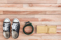 Vintage accessories on a wooden background Royalty Free Stock Photo