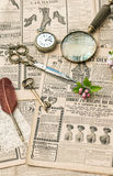 Vintage accessories writing tools old fashion magazine flat lay Royalty Free Stock Image