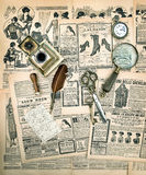 Vintage accessories and writing tools, old fashion magazine Royalty Free Stock Photography