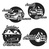 Vintage accident insurence emblems Royalty Free Stock Photos