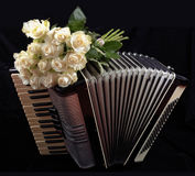 Vintage accordion and a bouquet of white roses. Concept of a nostalgic music. Still life with a folk musical instrument Stock Photo