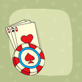 Vintage ace playing card with 3D casino chip. Stock Photography