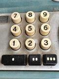 Vintage Adding Machine Calculator, closeup dusty keyboard Royalty Free Stock Photos