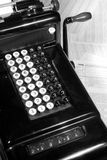 Vintage Adding Machine and Tax Return (Black and White). This is an image of a vintage adding machine with ledger paper and a tax return stock photos