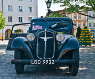 Classic German car Adler. Classic German beautiful Adler with its right doors wide open and halv open hood during old cars race in Wejherowo, Northern Poland Stock Images