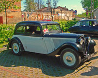 Vintage Adler car. Vintage German Adler car built around 1934 with four cylinders four-stroke motor, before rally of retro cars in Wejherowo, Poland. Black Royalty Free Stock Photos
