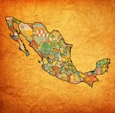 Vintage administration map of Mexico Stock Image