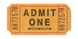 Vintage admission ticket. Generic vintage admit one ticket close up Stock Image