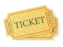 Vintage admit one ticket isolated on white background. Stock Photo