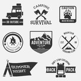 Vintage adventure badges set black and white royalty free illustration