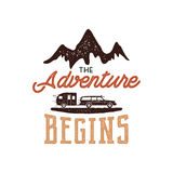 Vintage adventure Hand drawn label design. The Adventure Begins sign and outdoor activity symbols - mountains, rv Stock Photo