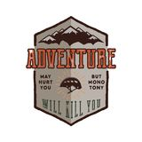 Vintage adventure Hand drawn label design. Adventure May Hurt You sign and outdoor activity symbols - mountains, climb Stock Image