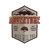Vintage adventure Hand drawn label design. Adventure May Hurt You sign and outdoor activity symbols - mountains, climb Stock Photos