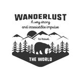 Vintage adventure hand drawn label design. Definition of wanderlust sign and outdoor activity symbols - mountains royalty free illustration