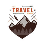 Vintage adventure Hand drawn label design. Let`s travel the World sign and outdoor activity symbols - mountains, forest Royalty Free Stock Image