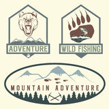 Vintage adventure labels with bear,salmon and mountains Stock Photography