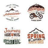 Vintage adventure tee shirts designs, summer logo set. Hand drawn travel labels. Mountain explorer, wanderlust. Expedition emblems. Summer logo. Isolated on vector illustration